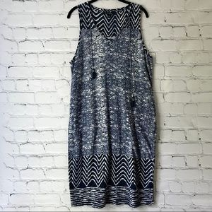 Lucky Brand Blue Batik Shift Dress Tassels Pockets